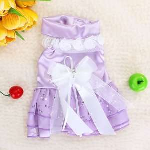 Pet Dog Wedding Dress Apparel Clothes Purple
