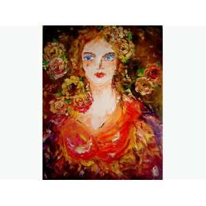 Original Impressionist Style Modern Flower Girl Oil Painting on Framed