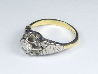 ANTIQUE ENGLISH ART DECO 18K YELLOW & WHITE GOLD ¼ct DIAMOND RING