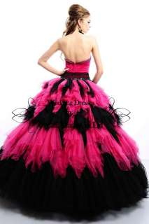 Strapless Quinceanera Ball Gowns Wedding Bridal Dress Prom Formal