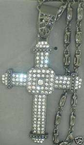 CZ BLACK GUN METAL CROSS CHARM+BLACK GUN METAL CHAIN