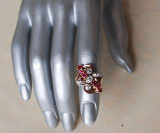 LADIES*VINTAGE*14K GOLD+DIAMOND+RUBY Ring 6*I1 SI2*G H