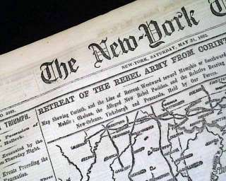 CONFEDERATE STATES Corinth MS MAP Civil War Newspaper *