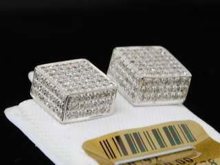 MENS LADIES WHITE GOLD DIAMOND 3D CUBE STUD EARRINGS