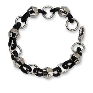 Mens Chunky Black Rubber Stainless Steel Chain Bracelet