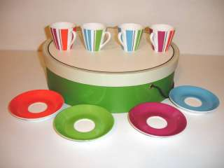 Kate Spade Collins Stripe Demitasse 4 Cups Saucers NIB