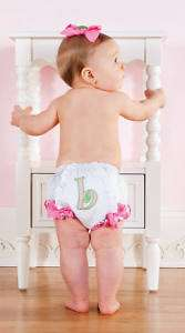 NWT Mud Pie Initial Baby Girl Bloomers, 0 6 Months