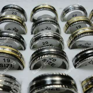 wholesale jewelry mixed lots 50pcs Rotatable stainless steel rings
