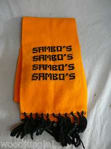 Vintage SAMBOS ORANGE SCARF RETRO USA RESTAURANT SNOW SKI COOL