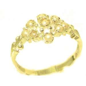 Unusual Solid Yellow Gold Natural Pearl Ring with English