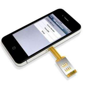 DUAL SIM CARD ADAPTER + BACK CASE FOR APPLE iPHONE 4 4G