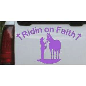 Purple 24in X 14.0in    Ridin on Faith Cowgirl and Horse Christian Car