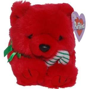 Red Christmas Teddy Bear   Puffkins Bean Bag Plush