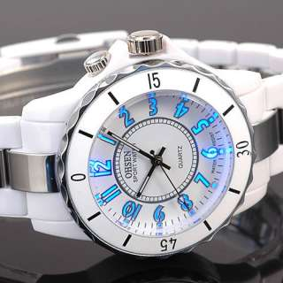 Trendy 8 Modes 7 Colors LED Light Unisex White OHSEN Wrist Watch