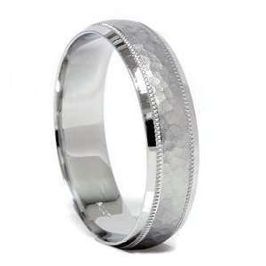Mens White Gold Hammered Wedding Ring Comfort Band New Jewelry