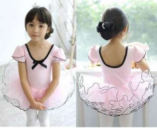 Girl Pink Party Ballet Dance Costume Tutu Dress Shirt 3 8Y Short
