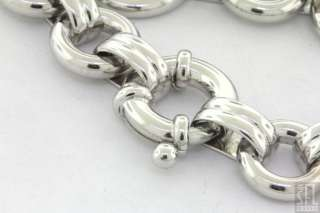 AARON BASHA HEAVY 18K WHITE GOLD FANCY CHAIN LINK CHARM BRACELET
