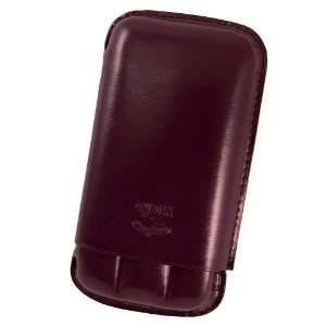 Cuban Crafters 3 Finger Bordeaux Leather Cigar Travel Case