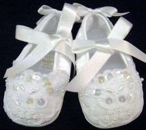 Willbeth Newborn Baby Girl Fancy White Beaded Shoes Christening