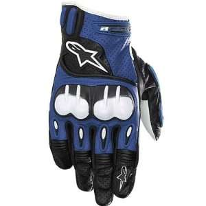 Octane S Moto Mens Leather Street Racing Motorcycle Gloves   Blue