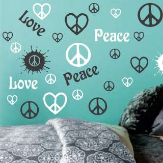 color Peace Love Peace Signs Hearts Vinyl Wall Decor Mural Decal