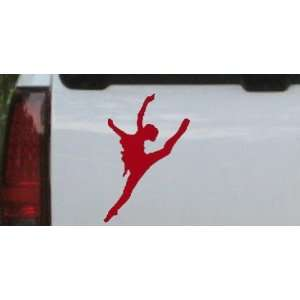 Dancer Silhouettes Car Window Wall Laptop Decal Sticker    Red 12in X