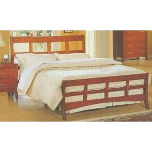 Size Modern Style Bed in Dark Maple Wood finish Furniture & Decor