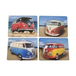 Volkswagen VW Samba Camper   Wooden Fridge Magnets Set of