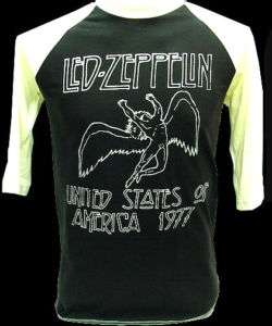 LED ZEPPELIN 1977 US Tour VTG Rock 3/4 Jersey T Shirt S