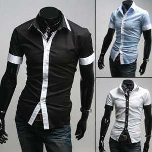 Mens Slim fit Stylish Dress Short Sleeve Shirts h87