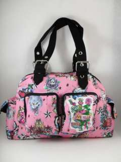 PINK BARCELONA KOI SKULL PUNK ROCKABILLY TATTOO BAG
