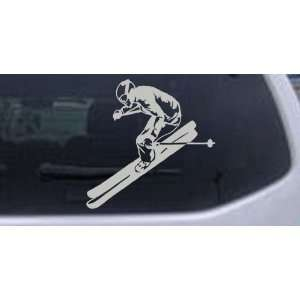 Skier Sports Car Window Wall Laptop Decal Sticker    Silver 10in X 10