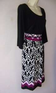JESSICA HOWARD Woman Black/Print Jersey 3/4 Sleeve Versatile Dress 14W