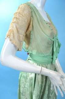 1900 SWEET SEA FOAM PASTEL GREEN CHIFFON & SILK HOBBLE GOWN W