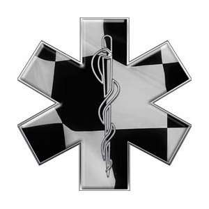 Checkered Flag Star of Life Decal   24 h   REFLECTIVE