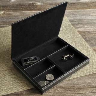 Personalized Engraved Deluxe Black Leather Valet Gift