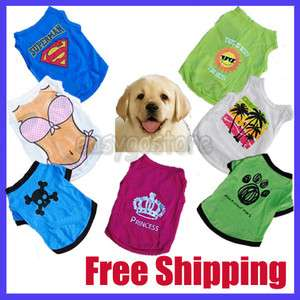 New Cute Puppy Dog Clothes Shirts Pet Tshirt Apparel Size XS S M L