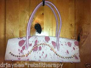 AUTH. BB SIMON SWAROVSKI CRYSTAL PINK COWHIDE LEATHER FUR PURSE $510 B