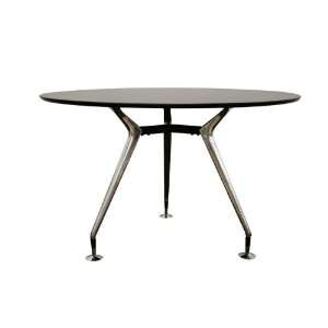Repente Black Round Dining Table with Steel Legs