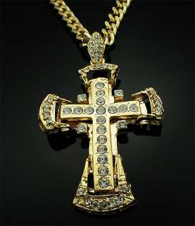 Medieval Double Cross Super Big size Gold Necklace
