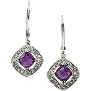 14K White Gold Amethyst & Diamond Earring