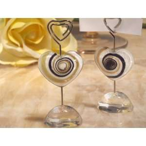 Wedding Favors Murano art Deco collection heart place card holder (Set