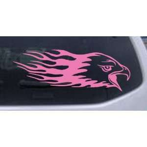 Pink 14in X 4.9in    Flaming Eagle Head Car Window Wall Laptop Decal