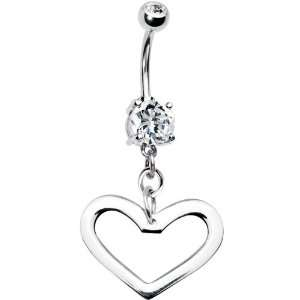 Handcrafted Silver Hollow Heart Belly Ring Jewelry