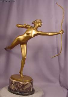 Antique Art Deco Gilt Bronze Running Diana With Her Bow G. Fager