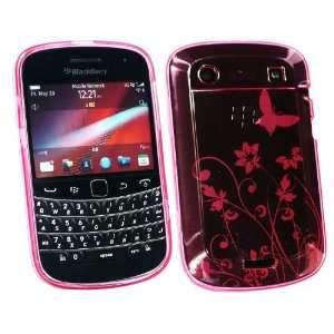 BlackBerry 9900 Bold Touch TPU Floral Gel Hot Pink Case By