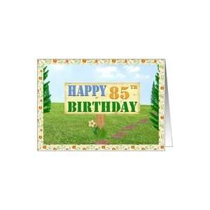 Happy 85th Birthday Sign on Footpath Card Toys & Games
