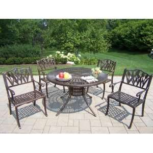 Oakland Living Sunray Cast Aluminum 48 Inch Tulip 5pc