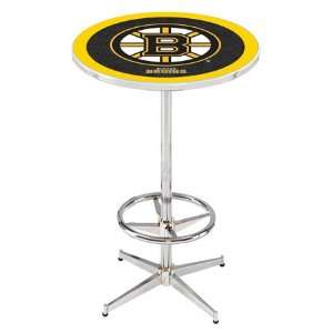 36 Boston Bruins Counter Height Pub Table   Chrome Base with Footrest