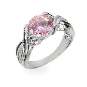 Toris Simple Pink Cubic Zirconia Sterling Silver Ring Size 7 (Sizes 5